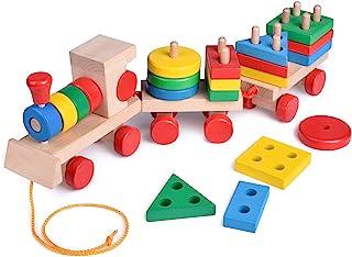 Juguetes divertidos y pequeños de 15.5 pulgadas, juguetes de tren de madera, clasificadores de formas y bloques de madera apilables, juguetes de madera, rompecabezas juguetes educativos preescolares