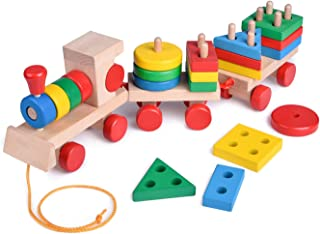 FunLittleToy 15.5 Inches Wooden Stacking Toys Train with Shape Sorter and Stacking Blocks, Toddlers Puzzle Toys, Pull Toys for Toddlers, Preschool Educational Toys