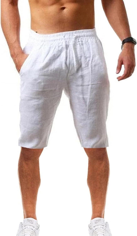 Futurelove Men Linen Drawstring Shorts Five Piece Pants Plain Linen Breathable Lightweight Quick-Dry Athletic Casual Shorts