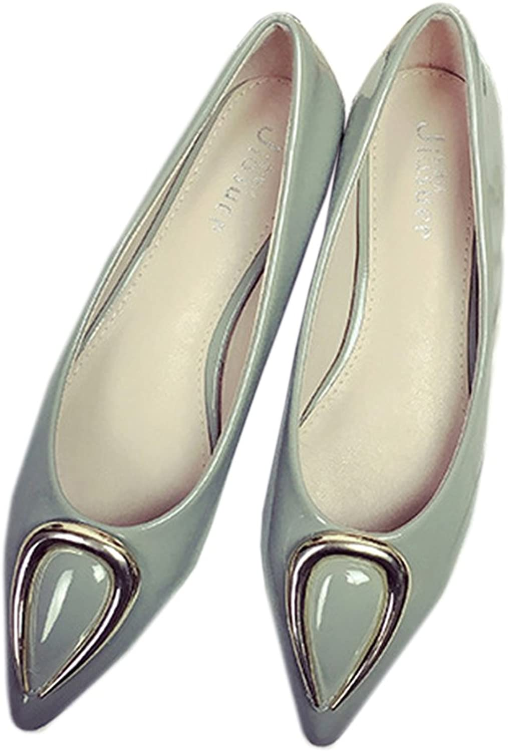 Ox Horn Metal Pointed Low-cut Women Thin shoes grey 41