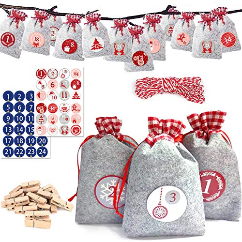 Tonsooze 24 Calendario Dell'avvento Borsa Fai da Te, Avvento Calendario Avvento da Riempire, Sacchetti Iuta Sacchetto Regalo di Natal, per Natale Calendario Decorazione Festa