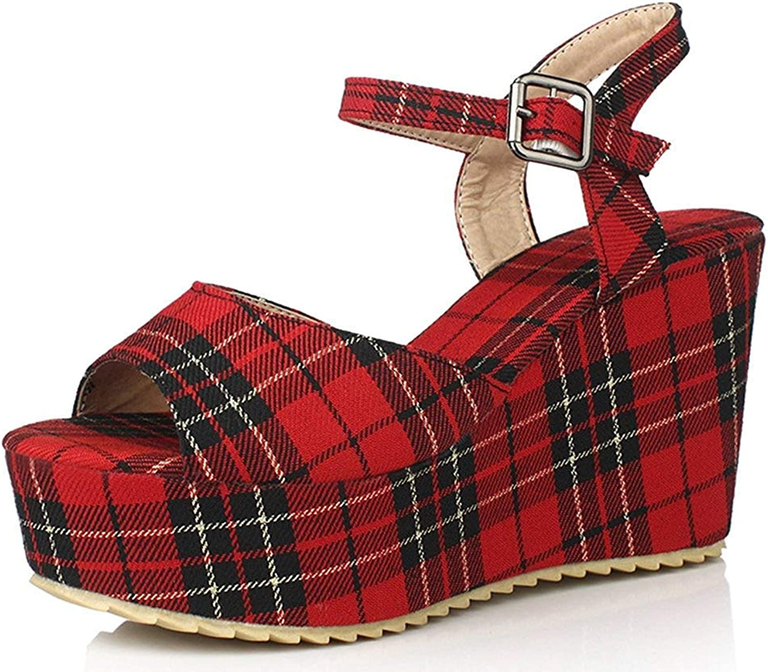 Gcanwea Women's Classic Open Toe Checkered Ankle Strap Wedge Heels Sandals to Wear with Jeans Smart Fashion No Grinding Feet to Wear with Dress for Girls Comfortable Black 4 M US Sandals