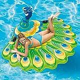 YLXD Juguete Hinchable Flotante Gigante, Colchoneta Hinchable Pavo Real Piscina Cama Flotante General y Adulto y Anillo de la natación del niño y Silla de la recreación del Agua