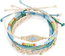 Handmade Wax Bracelet Sets, Braided Bracelets Friendship Souvenir for Women Girl Teens, Waterproof Wave Charm Bracelet Set Adjustable Slipknot Orange Handmade Wax Bracelet Sets Weave Coated Bracelets