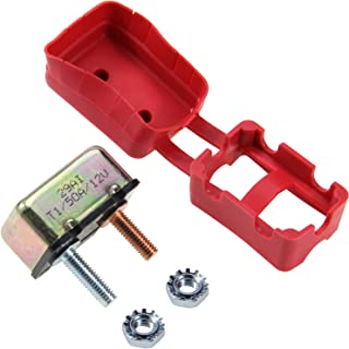 RKURCK 6-28V 50A Circuit Breaker 10-32 Stud Bolt Terminals Bracket Automatic Reset for Automotive RV ATV Marine Boat with Protective Red Boot Cover