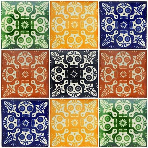 Color y Tradicion 9 Mexican Tiles 4 x 4 Hand Painted Talavera C248