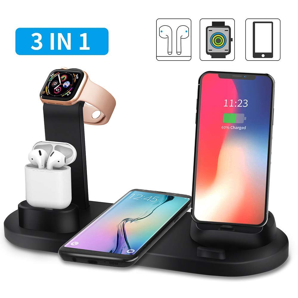 Estaciones de carga para múltiples dispositivos, escritorio Cargador portátil para Apple Watch / Airpods / iPhone / Android Micro USB / Tipo C Teléfono con soporte de carga inalámbrico rápido QI: Amazon.es: Hogar