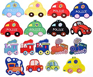 Baby car Iron On Applique Patches 17 PCS Kids Car Sew-on Applique Sew On Patches for Kids DIY Crafts Clothing Jeans Jackets Bags Iron-on Repair Kit