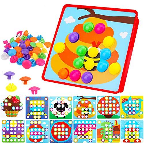 HOWAF Mosaik Steckspiel für Kinder ab 2 Jahre, Steckmosaik mit 52 Steckperlen und 12 Bunten Steckplätte, Lernspielzeug...