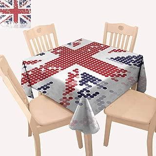 UHOO2018 British,Solid Design Tablecloth Grunge United Kingdom Flag with Dot Circle Effects National English Display Machine Washable White Red Indigo 36