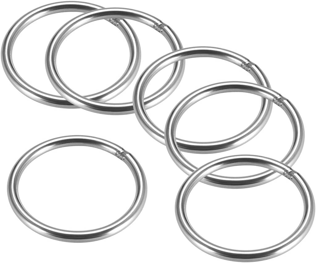 uxcell Stainless Steel O Ring 60mm Outer Diameter 5mm Thickness Strapping Welded Round Rings 6pcs