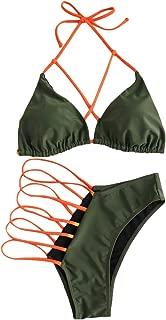 Women's Sexy Halter Ladder Cutout Brazilian 2PCS Bikini Set Swimsuits