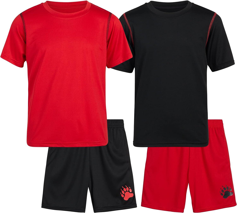 Black Bear Boys' Solid Active Shorts Set – 4 Piece Athletic Performance Shorts and T-Shirt Set