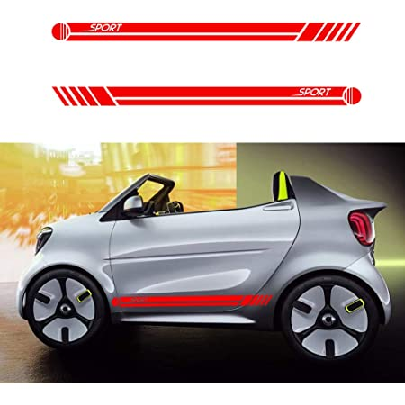 Für Aygo Auto Seite Karosserie Autoaufkleber Wetterfest Streifen Aufkleber Racing Seite Auto Tattoo Karosserie Deco 130 9cm Rot Auto