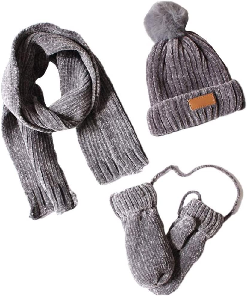 PDGJG 3 in Max 88% OFF Minneapolis Mall 1 Toddler Kids Winter Warm Hat Knit Glov Ribbed Scarf