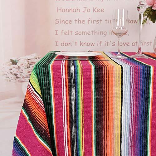 TRLYC Mexikanische rechteckige Tischdecke, 145 x 180 cm, mexikanische Partydekoration, Baumwolle, Tischdecke, Decke, Fiesta-Themen-Dekorationen, 144,8 x 182,9 cm, rot