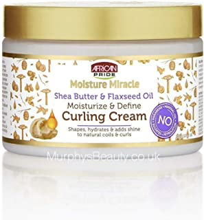 African Pride Moisture Miracle Shea Butter & Flaxseed Oil Curling Cream - Shapes, Hydrates & Adds Shine to Natural Coils &...