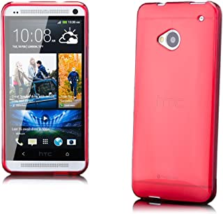 iCues | Compatible with HTC One M7 | Transparent TPU Case Red | [Screen Protector Included] Clear Rubber Cover Crystal Transparent Silicone Shell TPU Minimalist