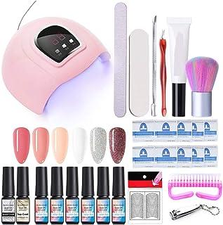 NICOLE DIARY Kit de inicio de esmalte de uñas de gel con lámpara de uñas de luz UV/LED 54W base y capa superior herramie...