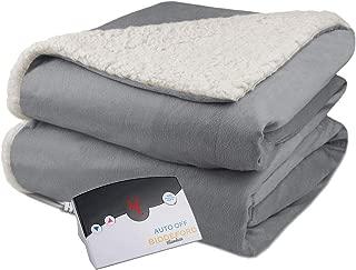 Biddeford Velour Sherpa Electric Heated Warming Blanket Twin Gray Washable Auto Shut Off 10 Heat Settings