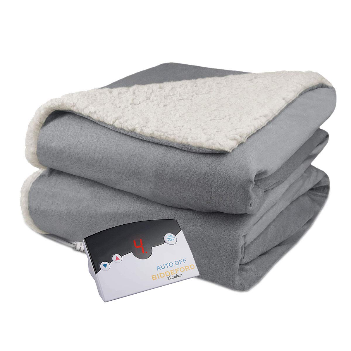 Biddeford Velour Sherpa Electric Heated Warming Blanket Twin Gray Washable Auto Shut Off 10 Heat Settings Buy Online In Bahrain Missing Category Value Products In Bahrain See Prices Reviews