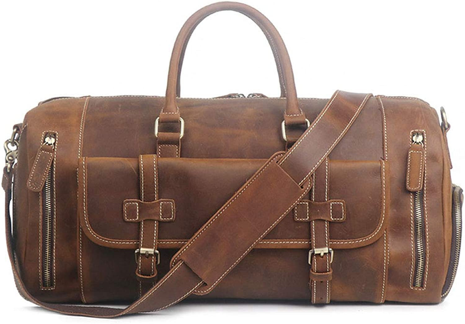 Travel Bag Crazy Horseskin Male Travel Bag Large Capacity Single Shoulder Diagonal shoes Duffel Bag (color   Brown, Size   52cmX24cmX23cm)