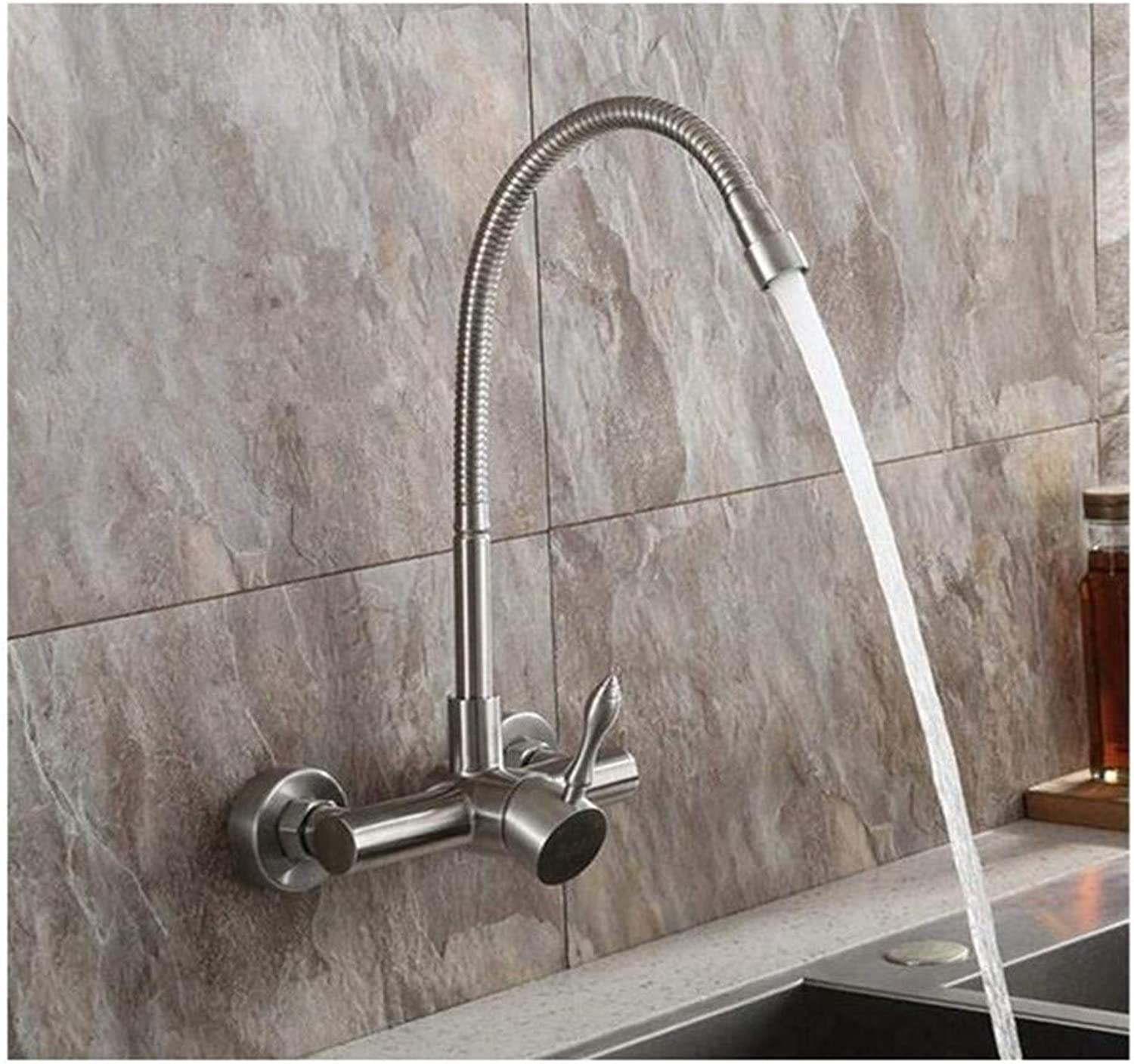 Muzyo Kitchen Faucet Polished Chrome Stainless Steel Double hole into the wall Sink Tap, 2