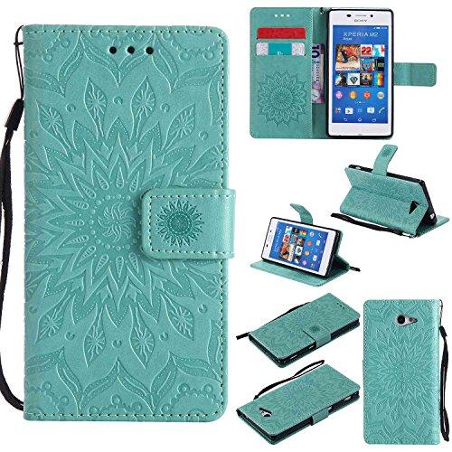 pinlu® Flip Funda de Cuero para Sony Xperia M2 4.8' Carcasa con Función de Stent y Ranuras con Patrón de Girasol Cover (Verde)