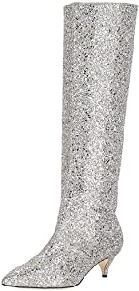 Women Chic Pointy Toe Glitter Knee High Boots Kitten Low Heel Pull On Sequins Sparkly Booties with Side Zippers