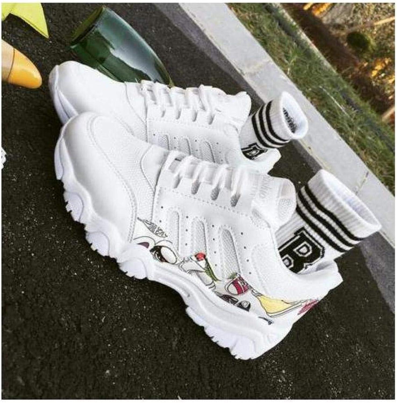 FidgetFidget Womens Girls LacUp BreathablRound ToSport Casual shoes Running Sneakers G WhitEUR37=US6=UK4