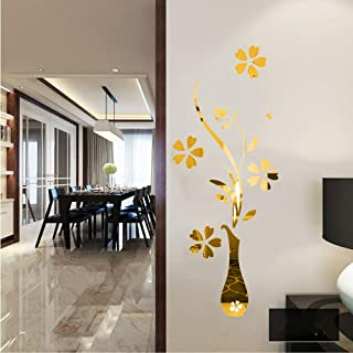 YINASI 3D DIY Acrylic Crystal Wall Stickers, Gold Luxury Vase Plum Flowers Pattern Removable Wall Decor for Living Room Entrance Bedroom TV Wall, Mural Wallpaper Art Decals Home Decor