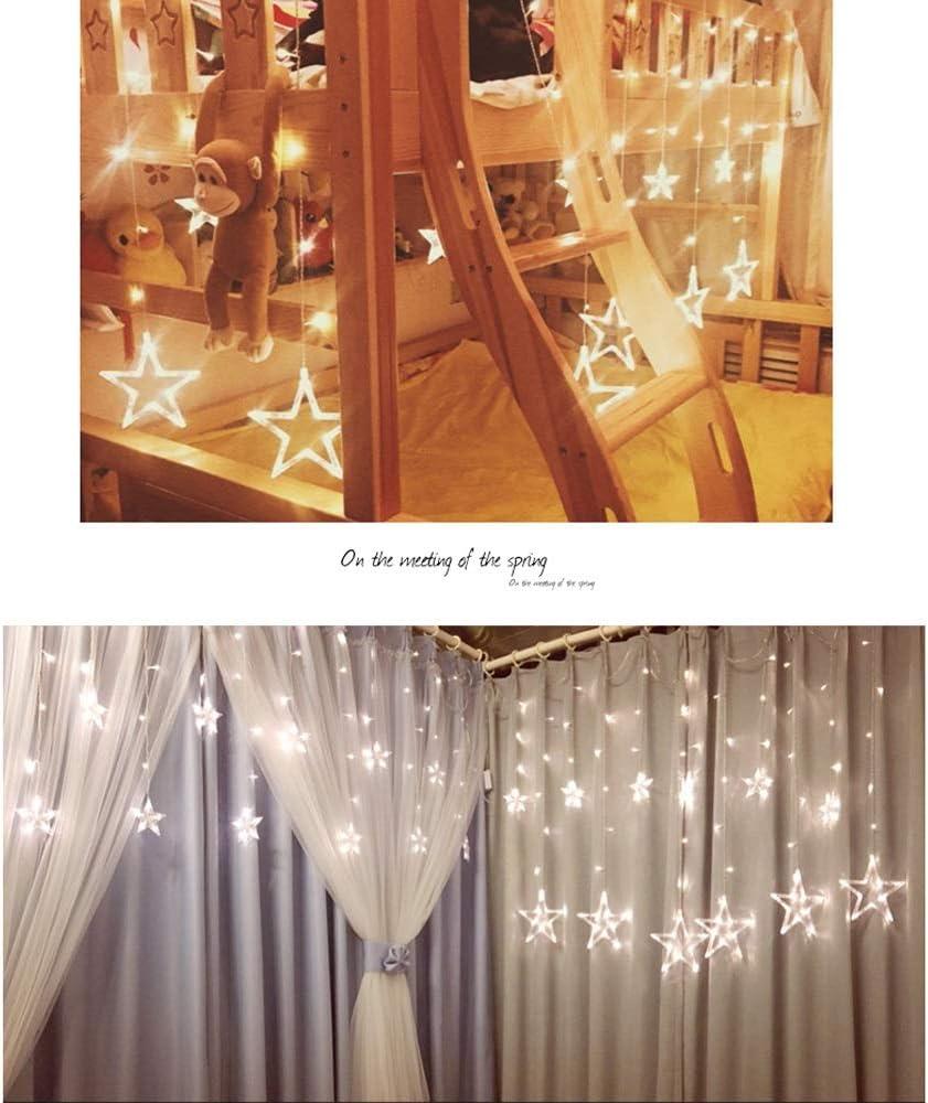 Lichterketten LED Sterne Vorhang Lichter kleine Lichter Blinklichter Zimmer Schlafzimmer Dekoration Lichter Lichterkette Dekoratives Licht (Color : D) D