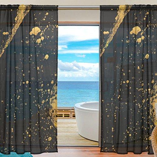 yibaihe Fenster Vorhänge, Gardinen Platten Fenster Behandlung Set Voile Drapes Tüll Vorhänge, Gold und Schwarz Tinte Muster 2Einsätze für Wohnzimmer Schlafzimmer,(140cm x 213cm )