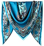 40' Women Twill Satin Polyester Silk Feeling Square Hair Wrapping Sleeping Square Scarfs Air Force Blue Geometric Square Pattern