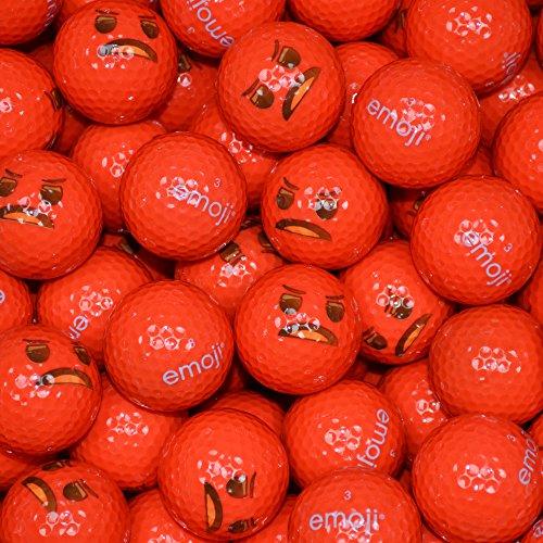 Emoji Erwachsene Golfbälle 48er Set neuartige Wütendes Gesicht, Red, 48, EMGBB003#20-48PK