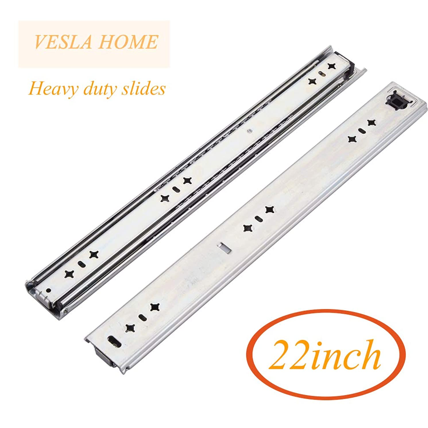 VESLA HOME soft close Hardware Ball Bearing Side Mount Full Extension Drawer Slides,Heavy Duty Slides, 22inch, 210 lb