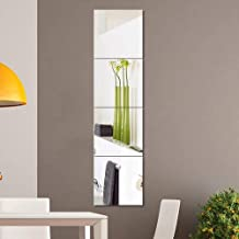 CYY Full Length Wall Mirror Tiles, 4 Pieces Frameless Wall Mirror Stickers Self Adhesive Combination HD Make UP Mirror for...