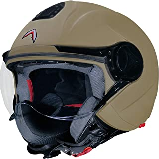 Mavox OX 10 Open Face Helmet With plain visor (Matt Sahara Beige, L)