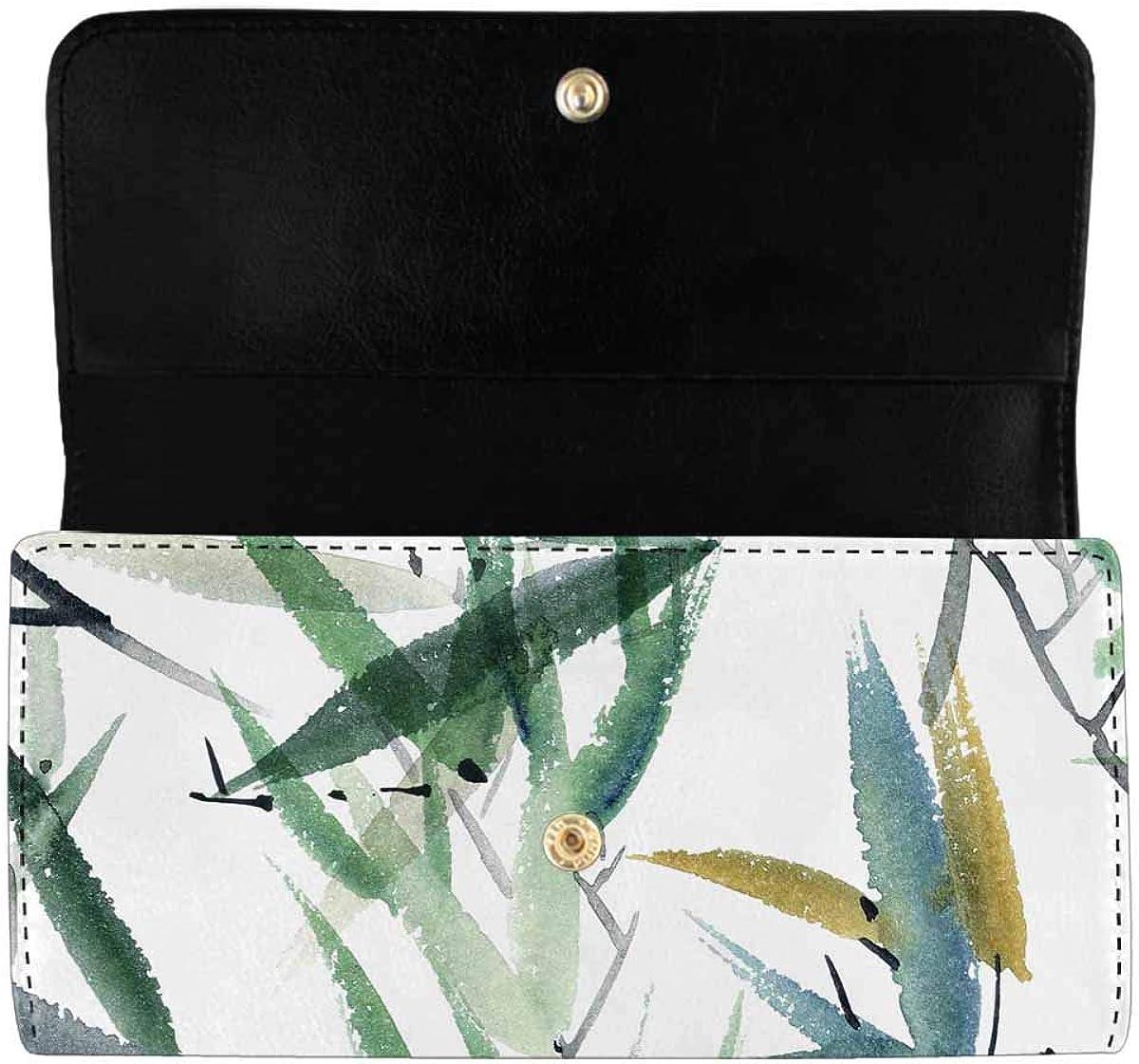 INTERESTPRINT Women's Trifold Clutch Purses Autumn Maple Leaf Long Card Holder Handbags