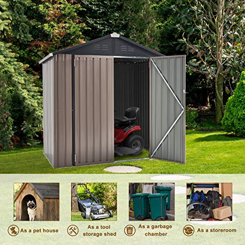 U-MAX 6' x 4' Outdoor Metal Storage Shed, Steel Garden Shed with Double Lockable Doors, Tool Storage Shed for Backyard, Patio, Lawn