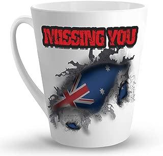 Makoroni - MISSING YOU AUSTRALIA - 12 Oz. Unique LATTE MUG, Coffee Cup