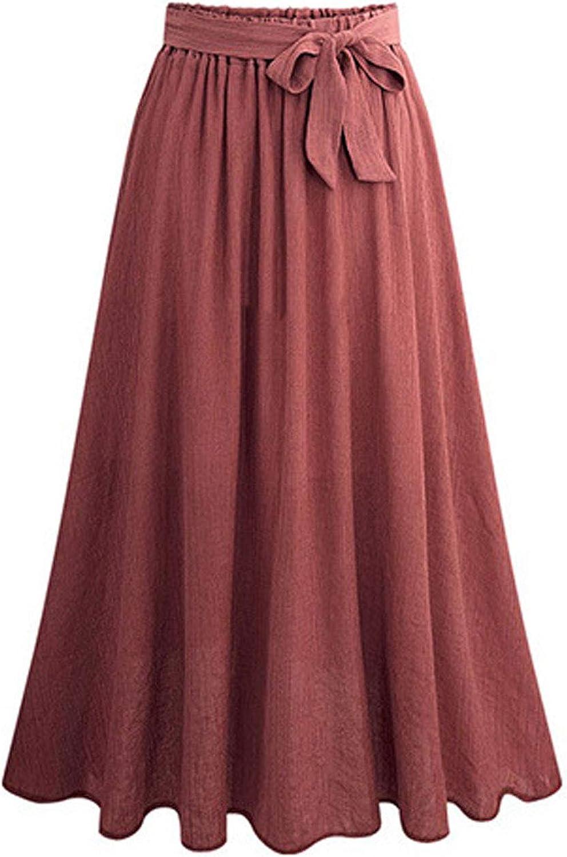 Flygo Women's Casual Elastic Waist A-Line Midi Flare Swing Skirt with Belt