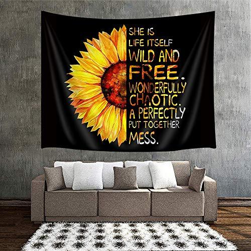 Tapiz de pared de girasol, diseño floral natural, pintura al óleo con media girasol tapiz para colgar en la pared, decoración del hogar, tapices para sala de estar, dormitorio, manta de pared