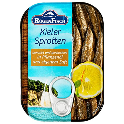 Rügenfisch Kieler Sprotten geräuchert in Pflanzenöl (10 x 90g)