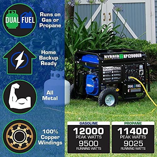 DuroMax XP12000EH Generator-12000 Watt Gas or Propane Powered Home Back Up & RV Ready, 50 State Approved Dual Fuel Electric Start Portable Generator, Black and Blue