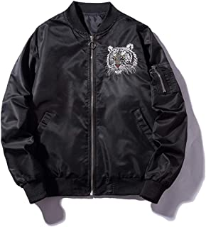 Bomber Jackets Embroidery Golden&White Tiger Jacket Mens Pilot Bomber Jacket Male Embroidered Thin Coats