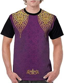 Summer Casual O-Neck,Purple,East Oriental Royal Palace Patterns with Bohemian Style Art Traditional Wedding,Purple Yellow S-XXL Baseball Short Sleeve