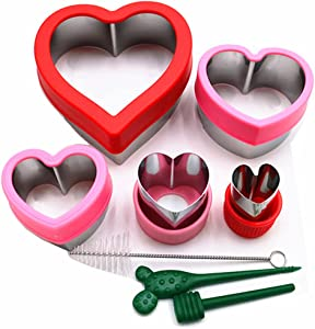 Stainless Steel Heart Sandwiches Cutter set,Heart Shapes Sandwich Cutters Cookie Cutters Vegetable cutters-Food Grade Cookie Cutter Mold for Kids Suitable for Cakes Sandwic