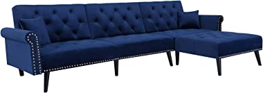 """Knowlife Sectional Convertible Futon Sofa Bed, Mid-Century Velvet Sleeper Sofa with Reversible Chaise and 2 Pillows, 115""""L So"""