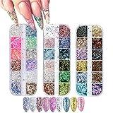 GOTONE 3 Scatole 36 colori Paillettes per unghie, Chiodi glitter 3D ultra sottili per fiocchi glitter Paillette Manicure Make up Nail Art Decor fai da te